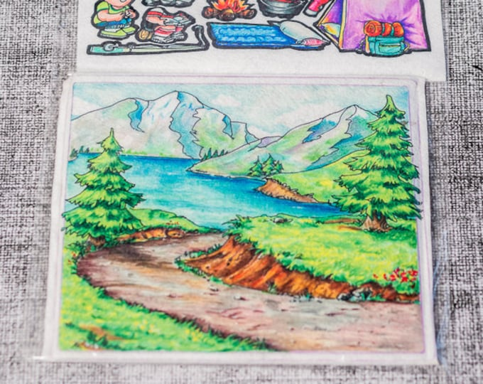 Flannel board set Mountain 10 in - story picture pocket, felt boards, felt board pieces, quite toy, flannel boards, quiet board