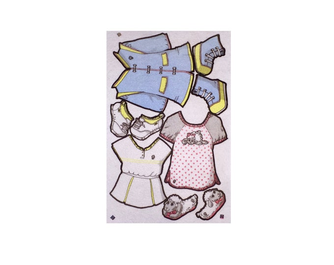 """Limited Edition - Vintage clothing for  14"""" La-Di-Doll. felt clothes, dress up dolls, velcro doll, paper dolls"""