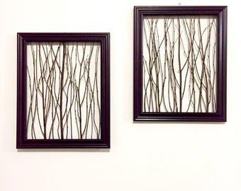 Rustic Wall Decor (1 Medium Frame), Rustic Framed Branches, Rustic Home Decor, Rustic Frame, Birch Branch Decor, Natural Wall Art
