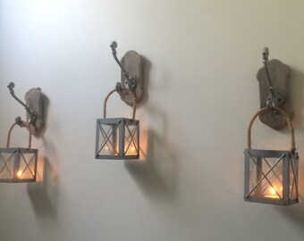 Rustic Lanterns with Antique Hooks (Set of 3), Rustic Hanging Candleholders, Wall Lanterns, Rustic Home Decor, Rustic Wall Decor