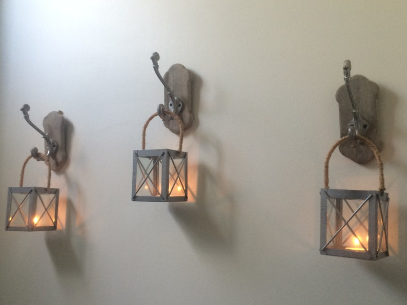Rustic Lanterns With Hooks Set Of 3 Rustic Candleholders Etsy