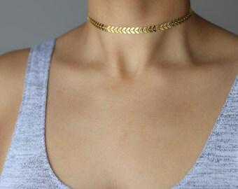 Gold Chevron Choker Necklace - Delicate Gold Choker - Bohemian Necklace - Minimalist Jewelry - Layering Necklace - Fishbone Necklace