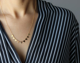 Dainty Gold Triangle Necklace - Geometric Necklace - Minimalist Jewelry - Layering Necklace - Bohemian Jewelry - Gift for Her