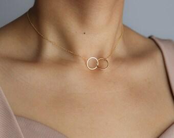 Friendship Necklace - Delicate Gold Necklace - Interlocking Circle Necklace - Gold Circle Necklace - Layering Necklace - Love Necklace