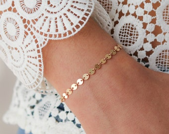 Gold Filled Coin Bracelet - Bridesmaids Gift - Circle Bracelet - Stacking Bracelet - 14k Gold Filled - Gift For Her - Bohemian Jewelry