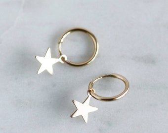 Star Hoops - Gold Filled Hoop Earrings - Star Earrings - Star Charm Hoops - Dainty Earrings - Minimalist Earrings - Jewelry Gift for Her