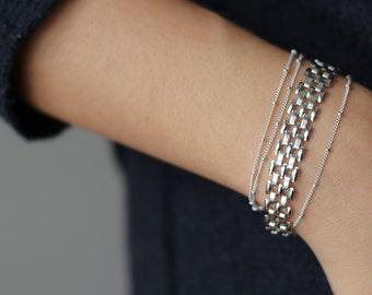 Silver Mesh Bracelet - Delicate Silver Bracelet - Silver Stacking Bracelets - Minimalist Jewelry - Chain Link Bracelet - Gift for Her