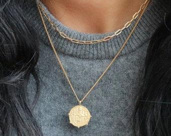 Gold Coin Necklace - Greek Coin Necklace - Roman Coin Pendant Necklace - Medallion Necklace - Ancient Coin Necklace