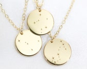 Zodiac Constellation Necklace - Astrology Sign Necklace - Coin Necklace - Star Sign Necklace - Personalized Coin Necklace