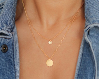 Gold Layered Necklace - Gold Coin Necklace - Satellite Chain Necklace - Gold Beaded Necklace - Bohemian Necklace - Christmas Gift