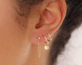 Gold Chain Stud Earrings - Gold Filled or Sterling Silver - Delicate Earrings - Simple Earrings - Minimalist Jewelry - Tiny Stud Earrings