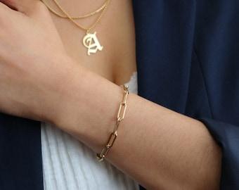 Paperclip Chain Bracelet - Rectangle Link Bracelet - Thick Chain Bracelet - Chunky Chain Bracelet - Bold Chain Bracelet - 14K Gold Filled