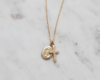 Tiny Gold Charm Necklace - Virgin Mary Necklace - Cross Necklace - Religious Jewelry - Pendant Necklace - Layering Necklace - Gift for Her