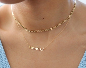 Custom Name Necklace - Simple Block Name Necklace - Nameplate Necklace - 14K Gold Filled or Sterling Silver