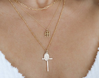 Virgin Mary Necklace - Gold Cross Necklace - Miraculous Medal Pendant Necklace - Religious Jewelry - Layering Necklace - Gift for Her