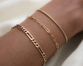 Gold Chain Bracelet - Stacking Bracelet - Unisex Jewelry - Figaro Chain Bracelet - Thick Chain Bracelet - Minimalist Jewelry