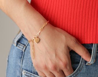 Heart Charm Bracelet - Dainty Bracelet - Gold Chain Bracelet - Everyday Jewelry - Stacking Bracelet - Gift for Her - Everyday Jewelry