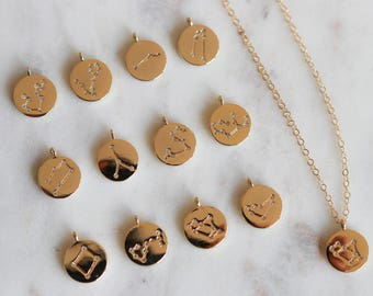 Gold Zodiac Necklace - Constellation Necklace - Gift for Her - Astrology Necklace - Star Sign Necklace - Birthday Gift -  Horoscope Jewelry