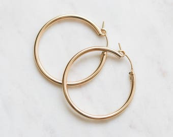 Thick Hoop Earrings - Gold Filled Earrings - 34mm Gold Hoop Earrings - Minimalist Jewelry - Big Gold Hoops - Gift for Her - Christmas Gift