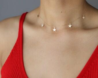 Gold Star Choker Necklace - Star Necklace - Silver Choker - Bohemian Jewelry - Layering Necklace - Trendy Choker - Festival Jewelry