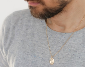Unisex Necklace - Gold Medallion Necklace - Men's Gold Necklace - Virgin Mary Necklace - Religious Jewelry - Jewelry for Men - Gift for Him