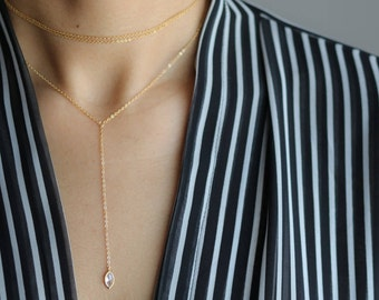 Diamond Drop Y Necklace - Delicate Gold Necklace - Layering Jewelry - Minimalist Necklace - Bohemian Jewelry - Simple Gold Lariat Necklace