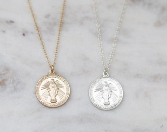 Coin Necklace - Gold Medallion Necklace - Miraculous Medal Necklace