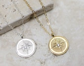 North Star Necklace - Coin Necklace - Celestial Jewelry - Starburst Necklace - Wanderlust Jewelry