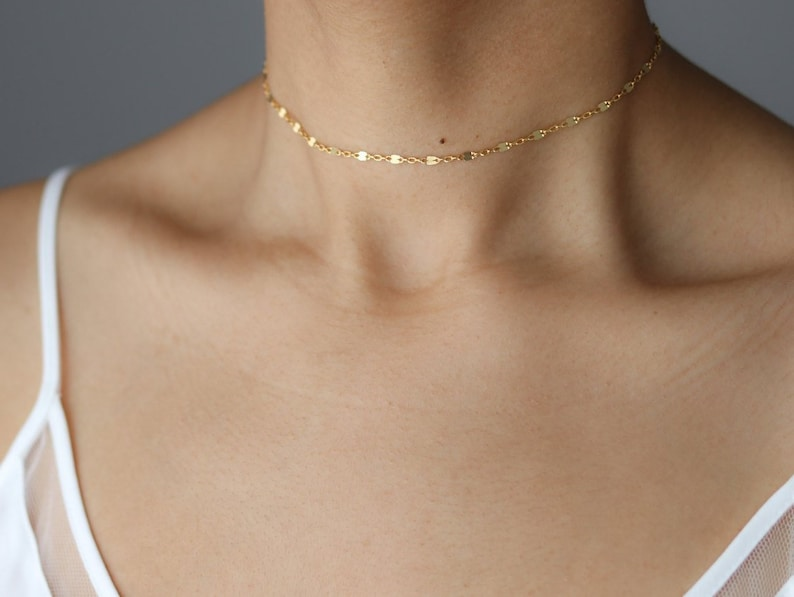 Dainty Gold Choker Necklace  Gold Chain Choker  Delicate image 0