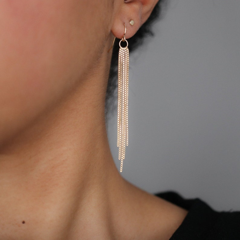 c26c33cc8 Gold Tassel Earrings Gold Dangle Earrings Minimalist | Etsy
