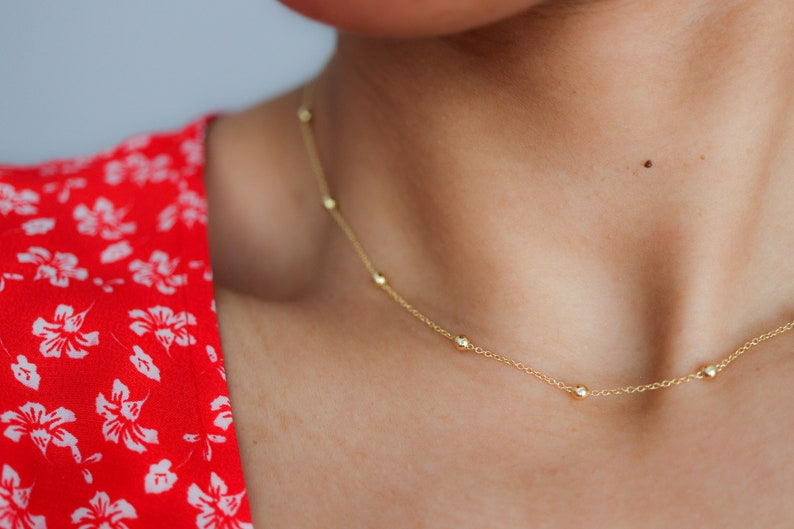 Delicate Gold Necklace   Satellite Bead Necklace  Dainty 16k Gold Vermeil