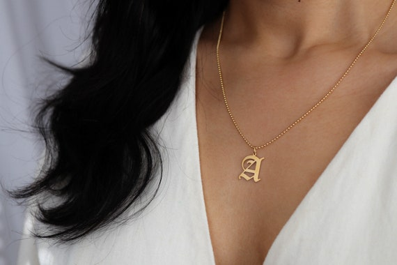 A-Z Necklace Charm 14K Yellow Gold Custom Lo Old English Initial Letter Pendant