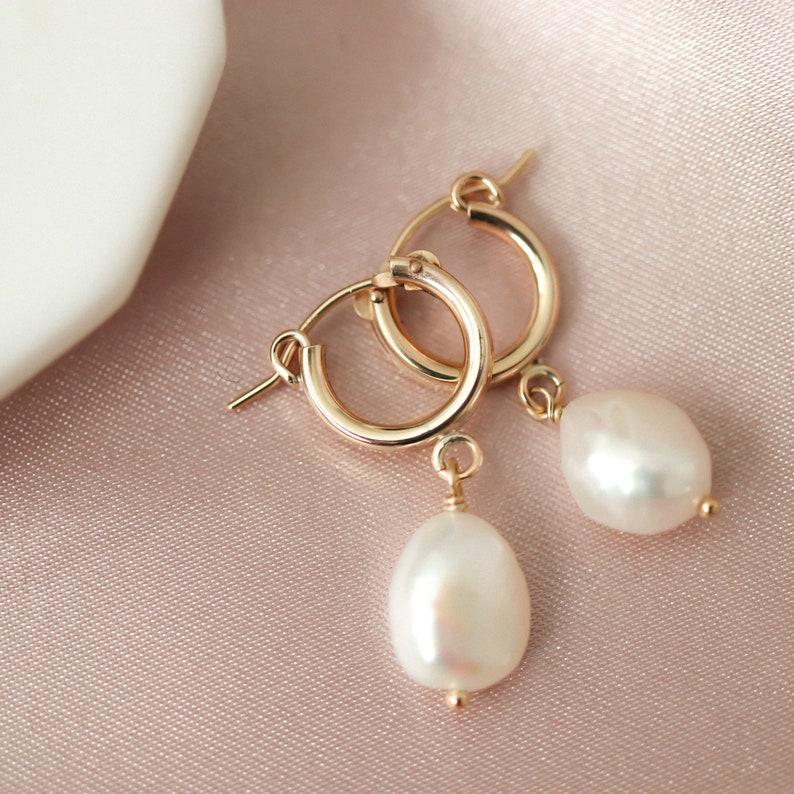 dd67d5391 Pearl Dangle Hoops Baroque Pearl Hoop Earrings Bridesmaids   Etsy