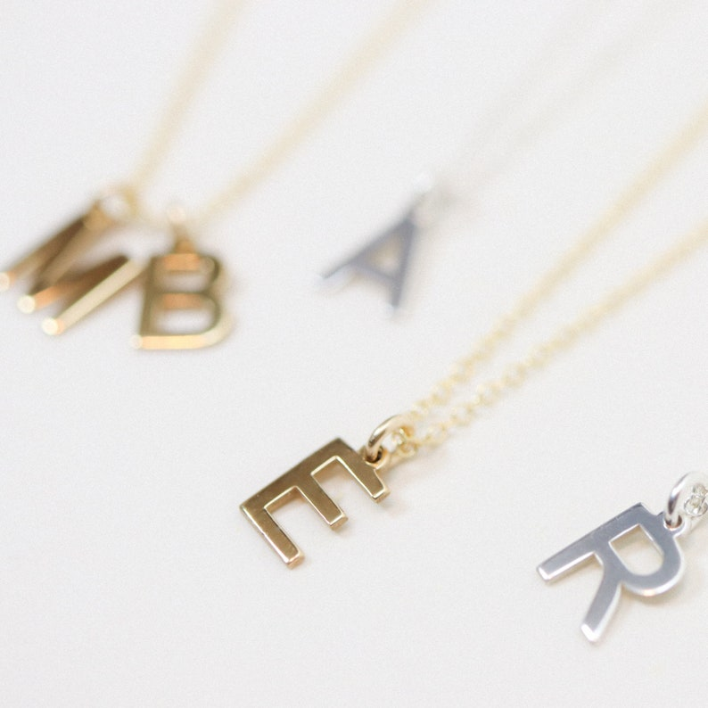 Tiny Initial Necklace  Tiny Letter Necklace  Dainty Letter image 0