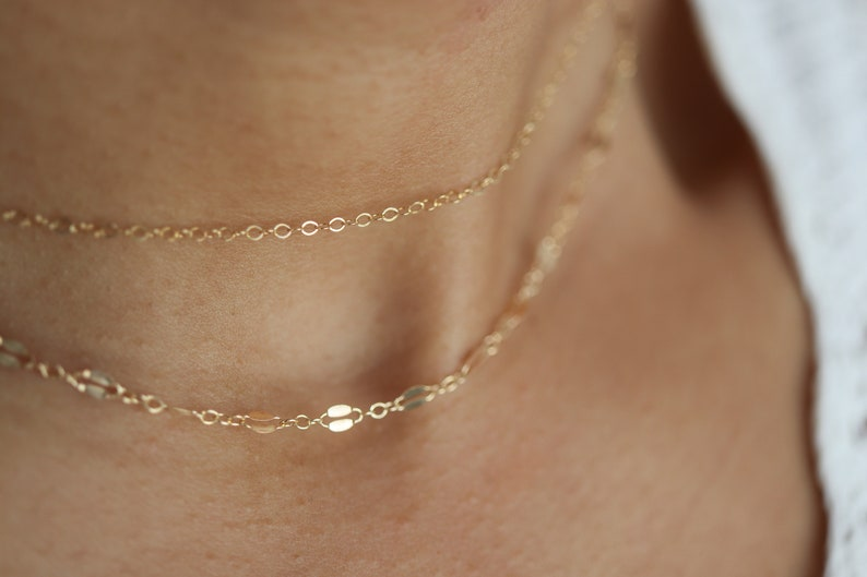 Birthday Gift Shimmer Necklace Lace Chain Necklace Gold Double Strand Necklace Simple Chain Necklace Dainty Layering Necklace Set