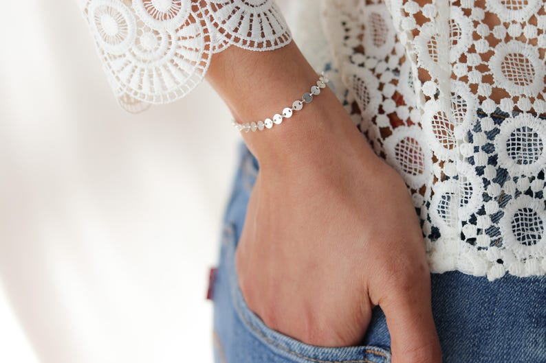 Gift For Her Bridesmaids Gift Circle Bracelet Bohemian Jewelry 14k Gold Filled Gold Filled Coin Bracelet Stacking Bracelet