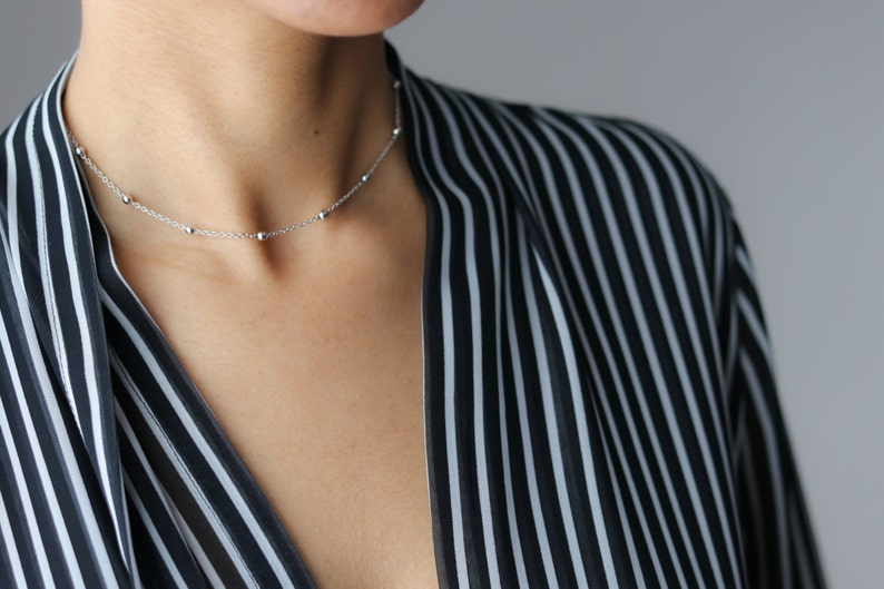 Bohemian Jewelry Satellite Bead Necklace Dew Drop Necklace Delicate Silver Necklace Dainty Silver Choker Layering Necklace