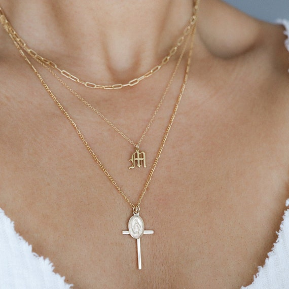 Jewelry Gifts The Virgin Mary  Religious Cross Necklace Long Chain Pendant