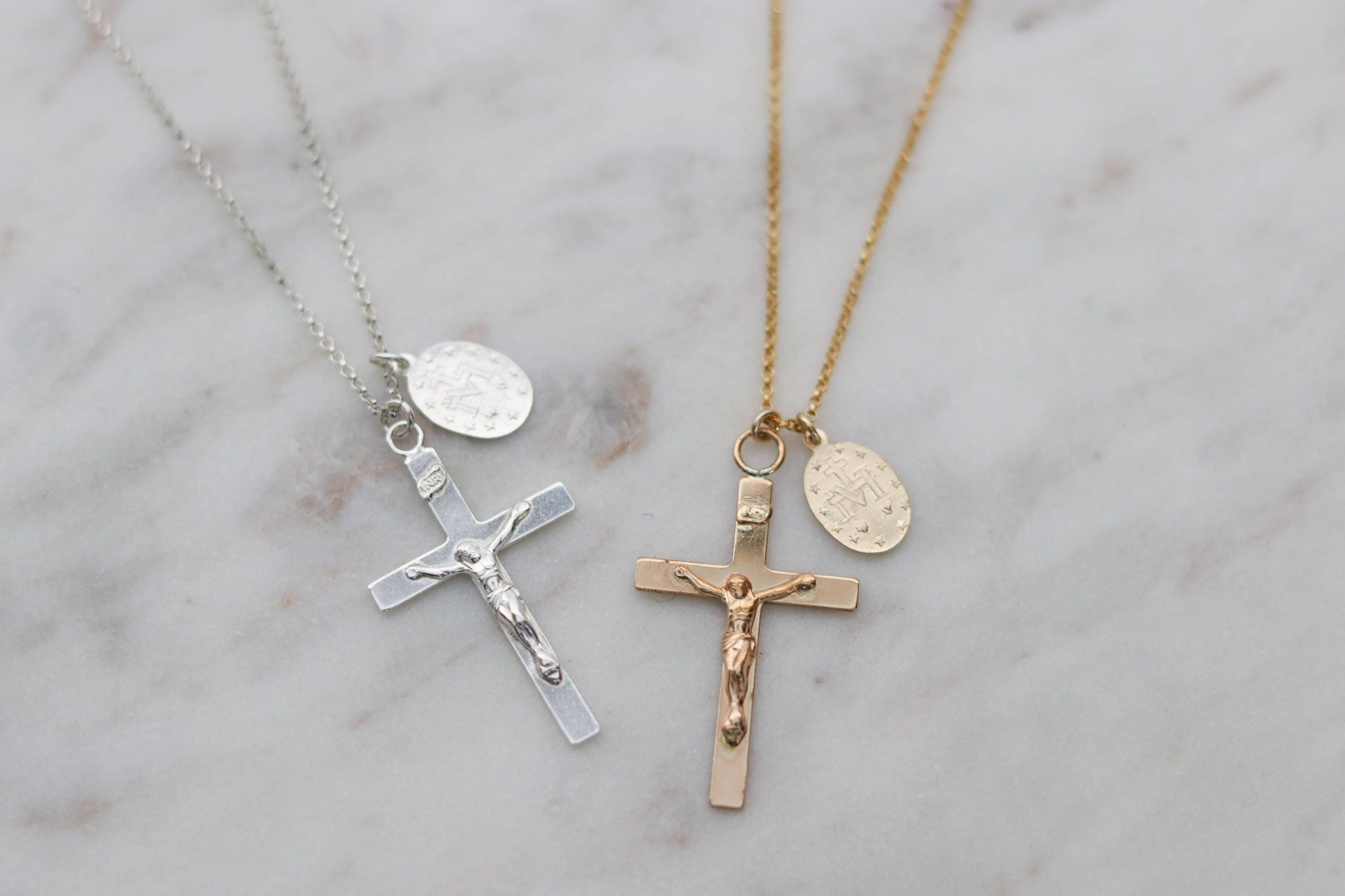 Gold Crucifix Necklace - Miraculous Medal - Religious Jewelry - 14k Gold  Fill or Sterling Silver - Gold Cross Necklace Men Gift for Husband