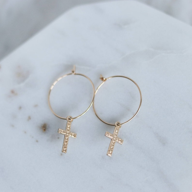 Cross Hoop Earrings Gold Hoop Earrings with Cross Charm Cross Earrings
