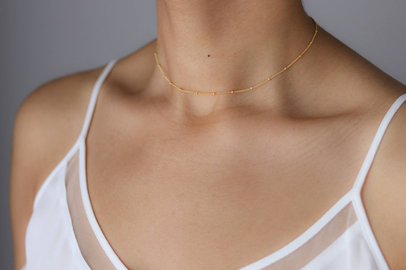 020cddc847219 Dainty Beaded Satellite Chain Choker - Layering Choker Necklace - Delicate  Gold Necklace - Dew Drop Necklace- Delicate Choker
