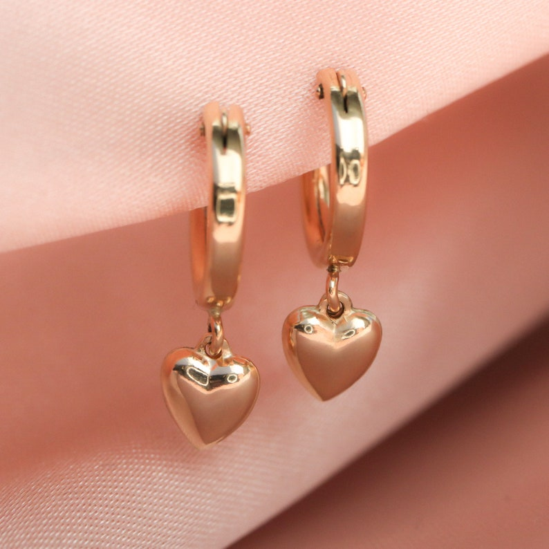 Gold Heart Hoops Bridesmaids Gift Mother/'s Day Gift Heart Charm Earrings Heart Hoop Earrings Tiny Heart Earrings