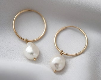Pearl Hoop Earrings - Bridal Jewelry - Gold Hoop Earrings - Baroque Pearl Earrings - Gold Hoops - Minimalist Jewelry - Bridesmaids Gift