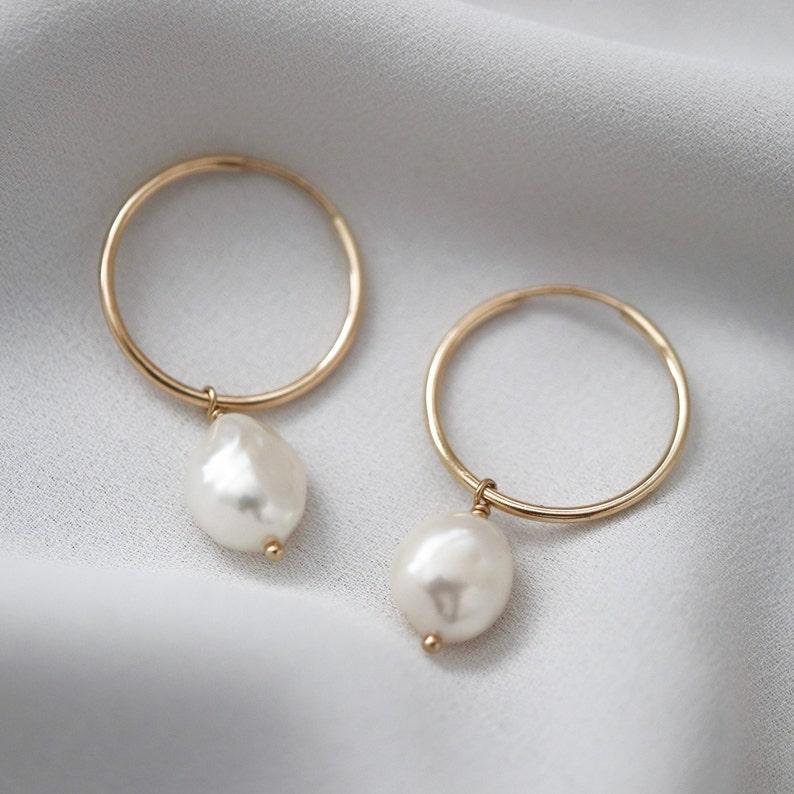 Pearl Hoop Earrings Bridal Jewelry Gold Hoop Earrings  2843ec0e9ec3