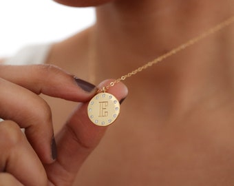 Engraved Initial Pendant Necklace - Monogram Necklace - Personalized Pendant Necklace for Women - Gift for Her - Mother's Day Gift