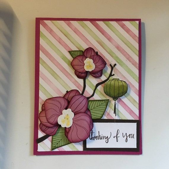 Handmade Orchid Thinking of you Card
