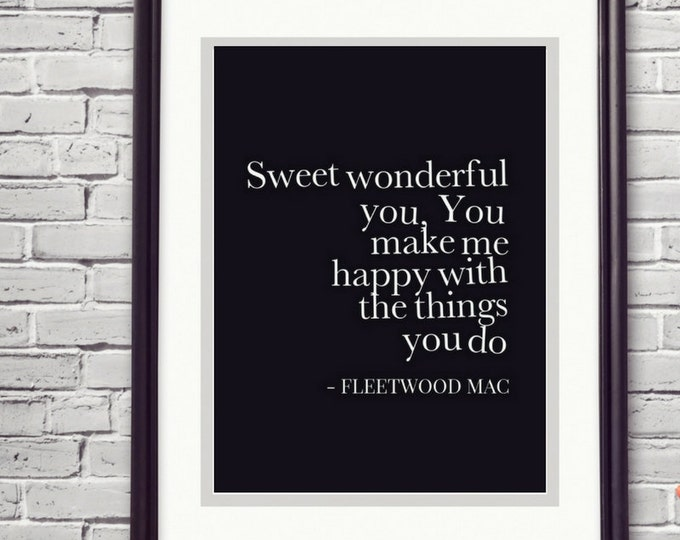 Featured listing image: Fleetwood Mac Print You Make Loving Fun 5 Year Anniversary 1 Year Anniversary Wedding Song Artwork Trending Now Prints Soulmate Gift Bestie