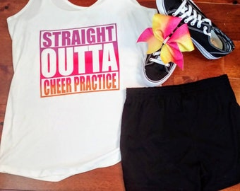 cheer practice tank top shorts and cheer bow outfit. Does not include shoes