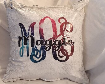 Custom monogram mermaid sequins pillow. Hidden message pillow ***with insert***