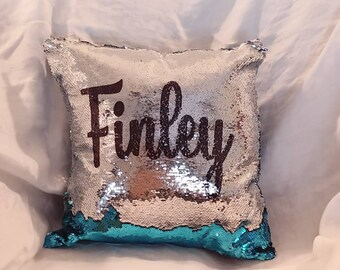 Mermaid pillow. Custom mermaid sequins pillow. Hidden message sequins. Flip sequins pillow ***with insert***